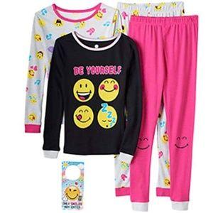 Smiley World Pajamas - NEW Emoji 4 pc PJ Set Emoticon Smiley World Pajama